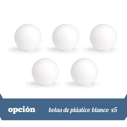 lote de 5 bolas blancas plastico