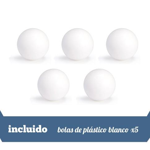 5 bolas de plastico blanco